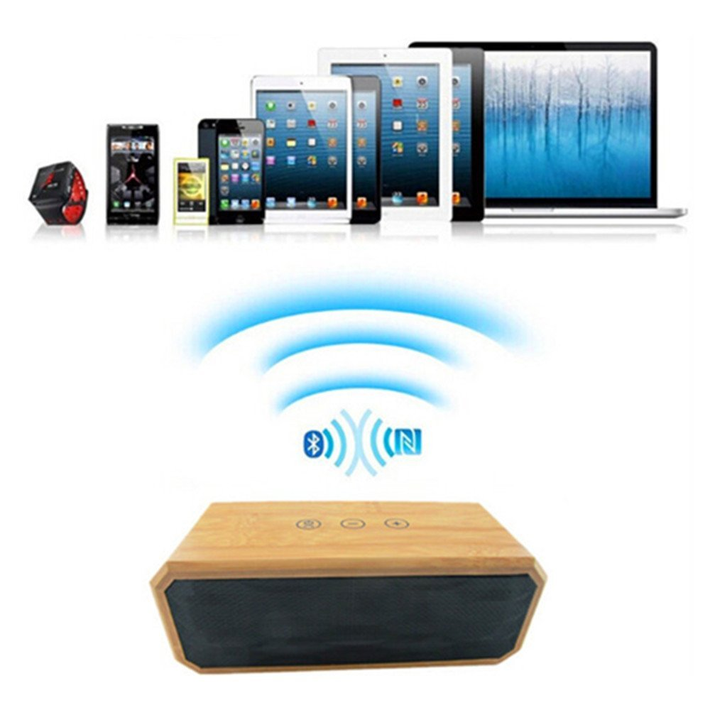 Original Bamboo Wireless Stereo Bluetooth 4.0 Speaker,Portable Wooden Bamboo Enhanced Bass Speaker NFC Support Hands-Free Calls(China (Mainland))