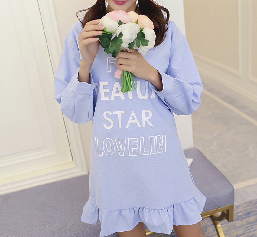 Plus Size 2016 New Spring Women dress Full Sleeve Slim Letter Lace Placed Dresses Blue Light Green 5012(China (Mainland))