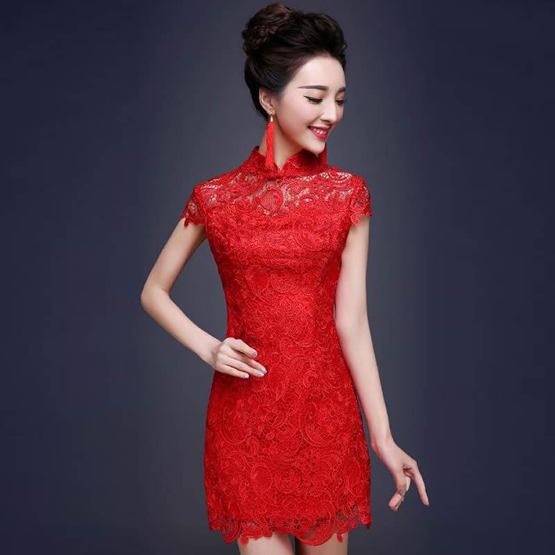 2016 de Encaje Rojo Cheongsam Qipao Vestido de Boda Chino Tradicional Vestido Chino Qi Pao Vestido