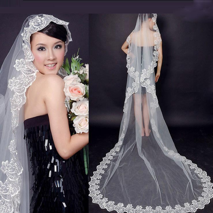 Aliexpress Buy Hot 3m Graceful Flower Lace Edge Cathedral Length Wedding Veils White Ivory