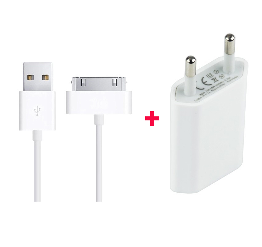 EU Plug USB Power Wall Charger Adapter + 30 pin Sync Data Charger Charging Cable for iPhone 4 4S 4G iPad 2 3 iPod nano touch T04(China (Mainland))