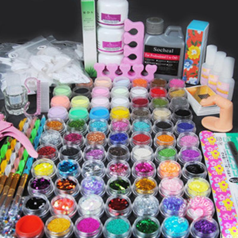 Acrylic velvet nail kit uv gel set manicura nails art for Decoration ongle en gel