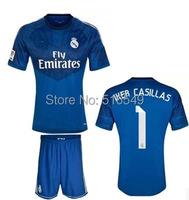 2014-2015 Top quality Real madrid goalkeeper navy blue IKER CASILLAS 1 shirt,100% Polyester  Real madrid  soccer jerseys shirt