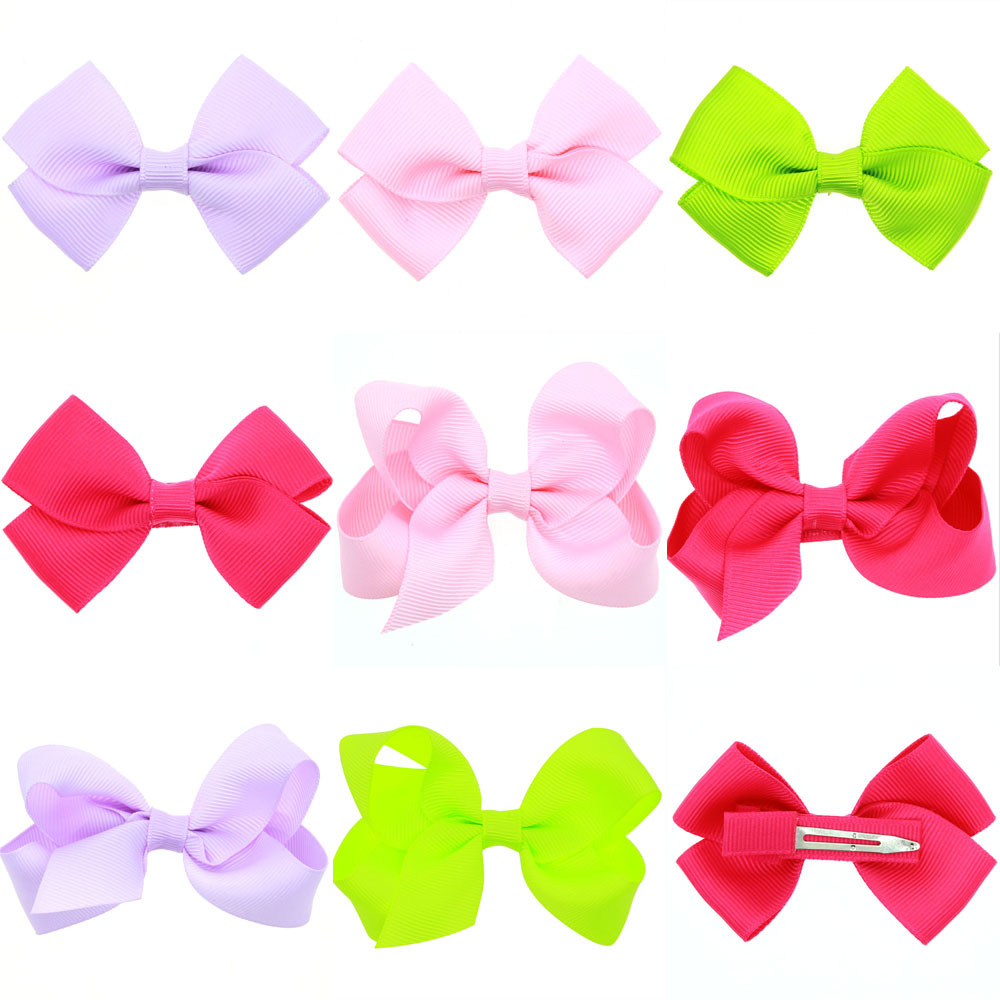 Hot Sale Brand New Cute Clean Color Bow Duckbill Baby Hairpins Handmade Hair Clips Barrettes Headdress Kids Girls Accessories(China (Mainland))