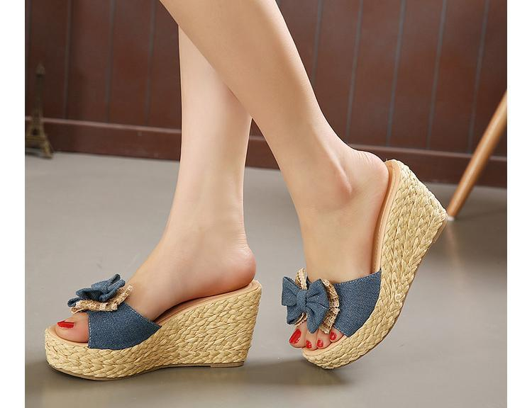 Vintage Cheap Woven Wedge Summer Sandals Cheap Cute Bowtie