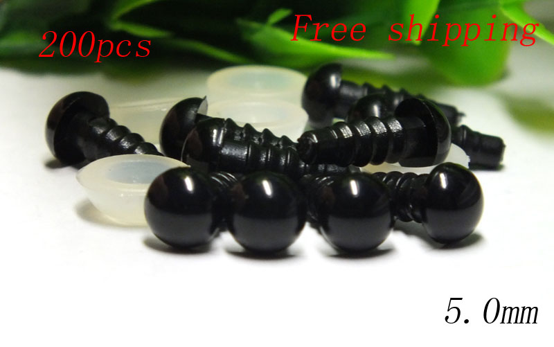 Free shipping!!! 100pairs/lot 5mm Black Safety Eyes / Plastic Doll eyes Handmade Accessories  With Washers