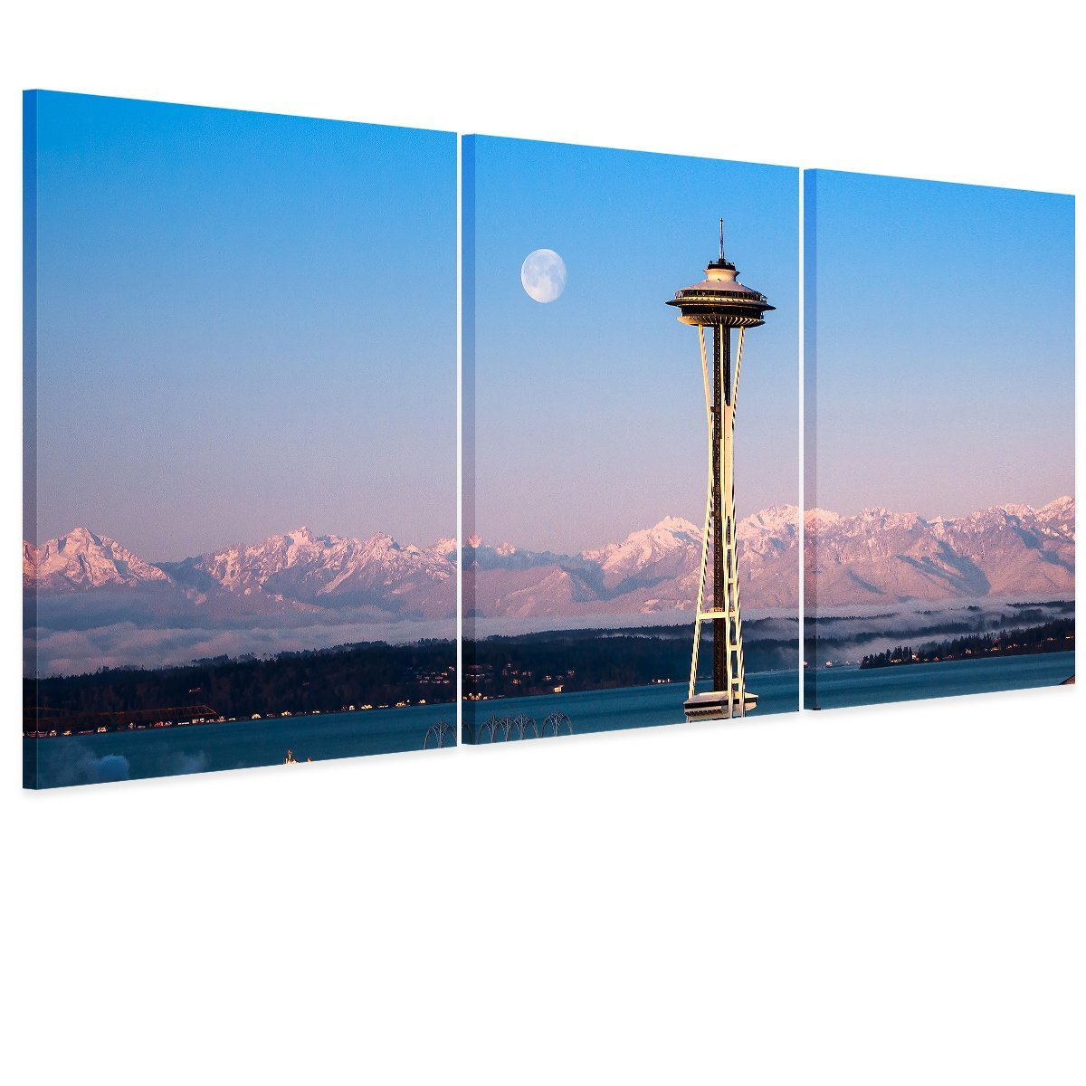 5 Picture Combination Seattle Needle City Canvas Print Seattle City Panorama City View Art Print Black and White Seattle Canvas(China (Mainland))