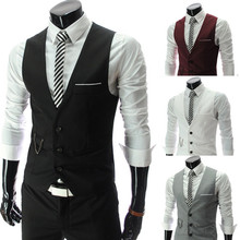 New Fashion Top Design Luxury Men Fitted Suits Tuxedo Dress Vests Waistcoat 4 Color Hot Sale(China (Mainland))