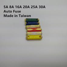 Сделано в тайване 60 шт. 5 / 8 / 16 / 20 / 25 / 30a-синяя автомобиля / автомобиля предохранителя, Ес автомобильные предохранители 6 моделей, Европейский предохранитель-бесплатная бесплатная доставка
