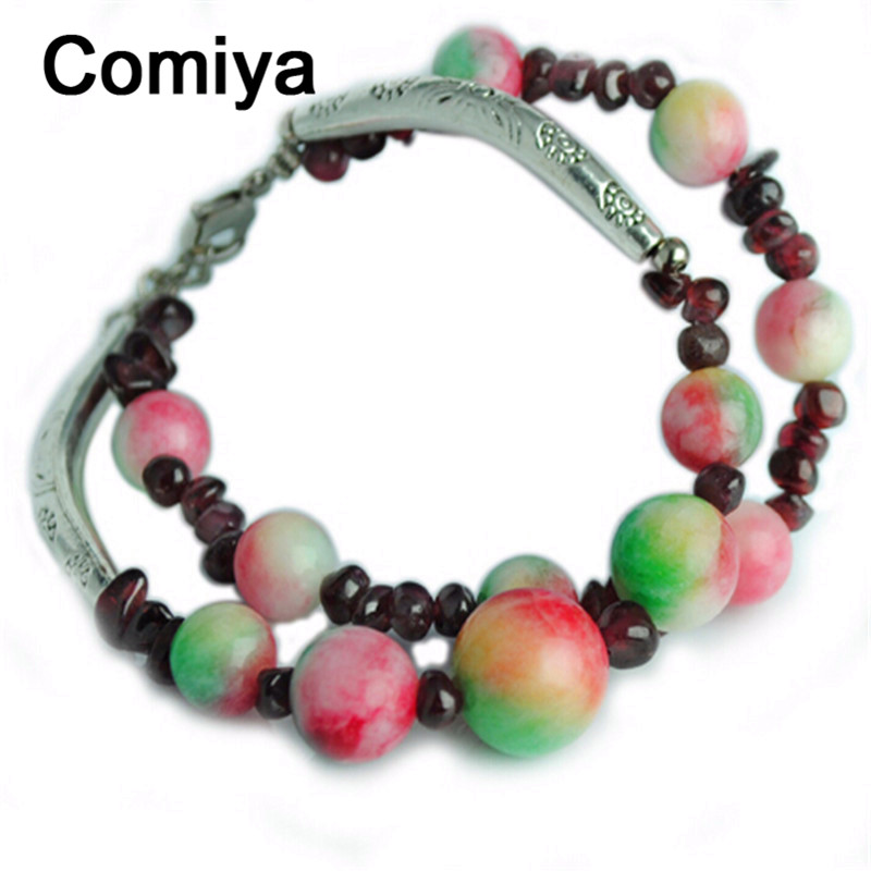 Comiya lovely fashion designer apple stone garnet bracelets double layer silver plated accessories bracelet pulseira femme(China (Mainland))