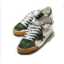 HOT 2016 Fashion Green sapatilha Golden Goose Shoes Men Women Low top Casual Shoes GGDB Leather Canvas Old Casual Flat shoes(China (Mainland))