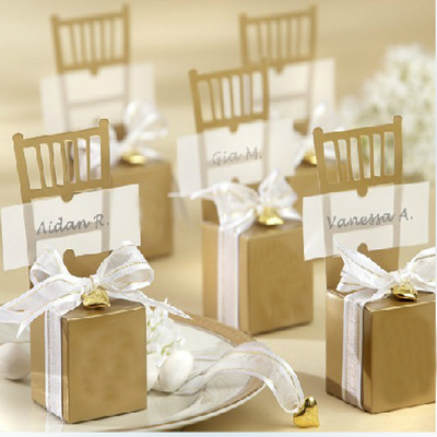 Luxury Wedding Candy Box With Pendant Golden Chair Wedding Favors Gifts Box For Guest Party