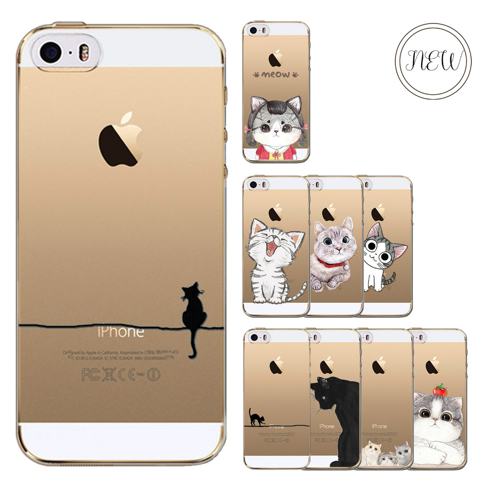 Cute Phone Case For Apple iPhone 5c Soft Silicon Clear Transparent Fundas Painted Cover Cute Cat Pattern Mobile Phone Bag(China (Mainland))