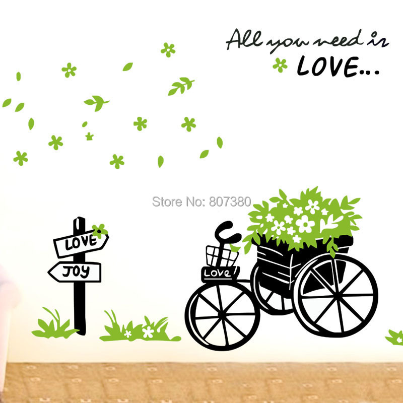 Bicycle Removable Wall Decal Houseware Stickers Home Decoration - Rose-Jewelry store