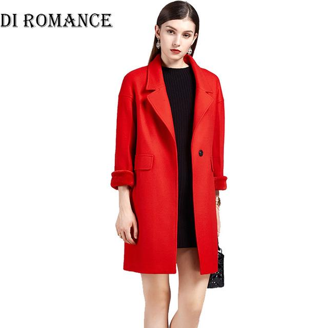 ДИ РОМАНТИКА женщины шерстяное пальто куртки и лоскутное зима ветровка абригос Mujer индекс Красный верблюд Длинный толстый слой женщин размер