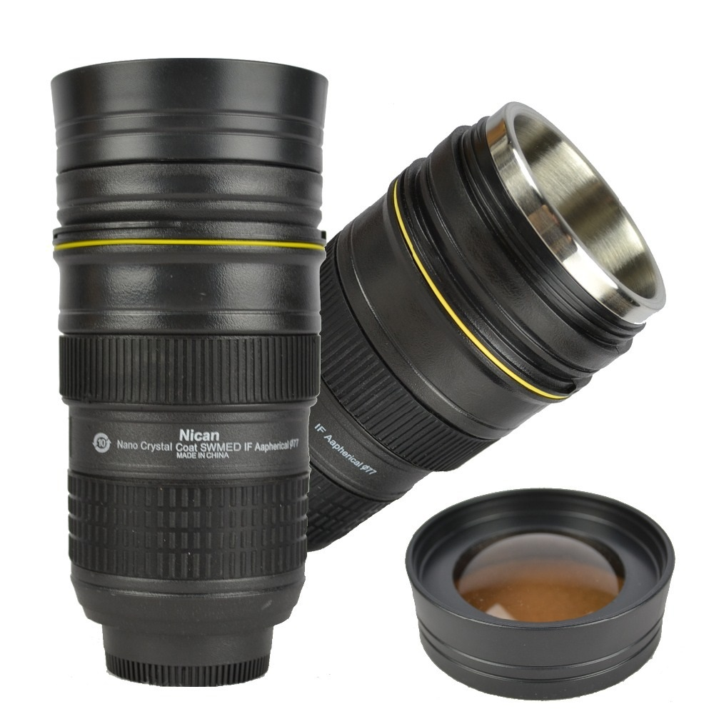 Coffee lens cup camera lens mug glass lid nican 400ml for Photo lens coffee cup