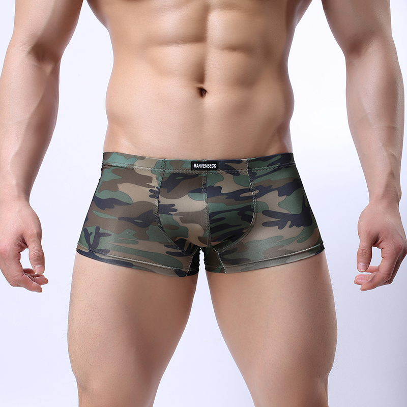Military Army Camouflage Boxers Men Low Waist Trunk Pouch Boxers Underwear Male Soft Shorts