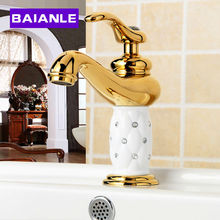 Buy Gold bathroom faucet Brass Bathroom Faucet single handle Hot Cold Water Tap Deck Mounted Mixer Tap for $90.00 in AliExpress store