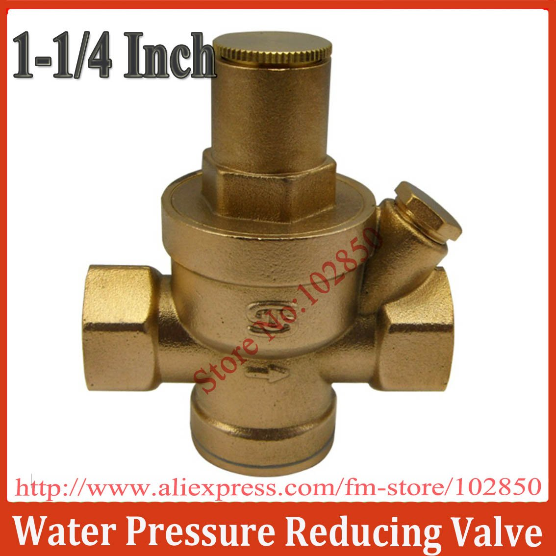 "1/1/4"" Brass Water Pressure Reducing Valve with Pressure Gauge,Brass H59,Long life and great performance(China (Mainland))"
