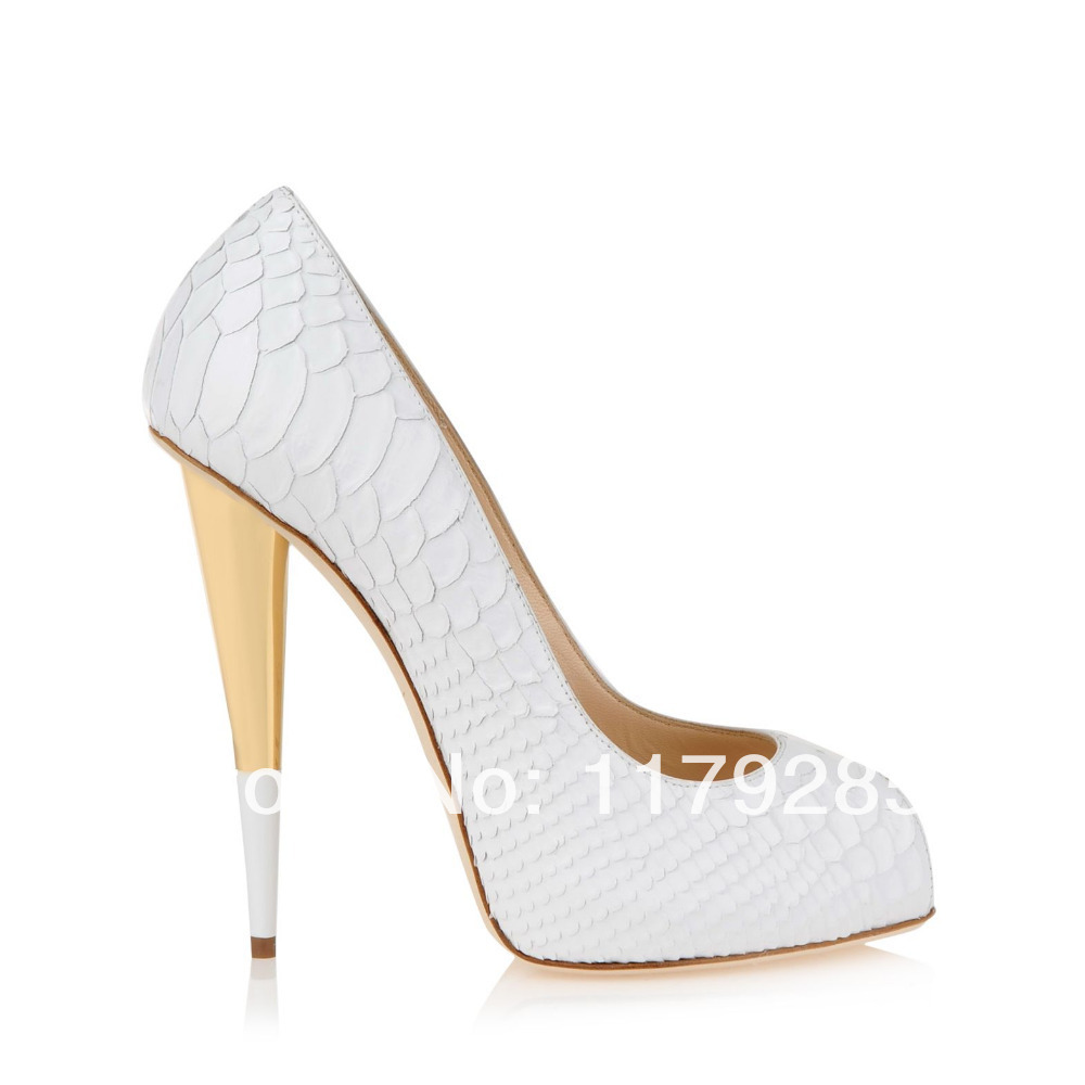 White And Gold High Heels - Is Heel