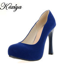 Hot sale!  Big size 30-50 Fashion solid Women's shoes elegant Ultra high with flock high heels 3 color black blue red HQW-A-2(China (Mainland))