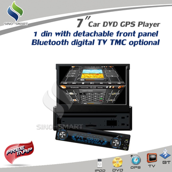 "Discount! Updated 7"" One Din Car DVD GPS with detachable front panel iPod Bluetooth TV Option: DVB-T MPEG4 ATSC TMC"