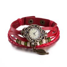 Leather Bracelet 2017 Vintage Leaf Watch Women Dress Watch Unisex Charm Red multilayer Bracelet for Women pulseira feminina(China (Mainland))