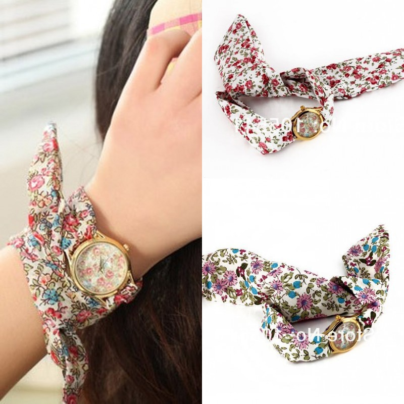 Women Dress Watch Fashion Analog Ladies Simplicity Quartz Watches printed cloth Strap 2colors - Di Da store