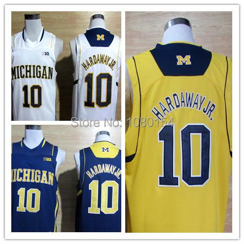 2014 New Style NCAA College Basketball Jersey Michigan Wolverines Tim Hardaway Jr. 10 Basketball White Yellow Stitched Jerseys(China (Mainland))