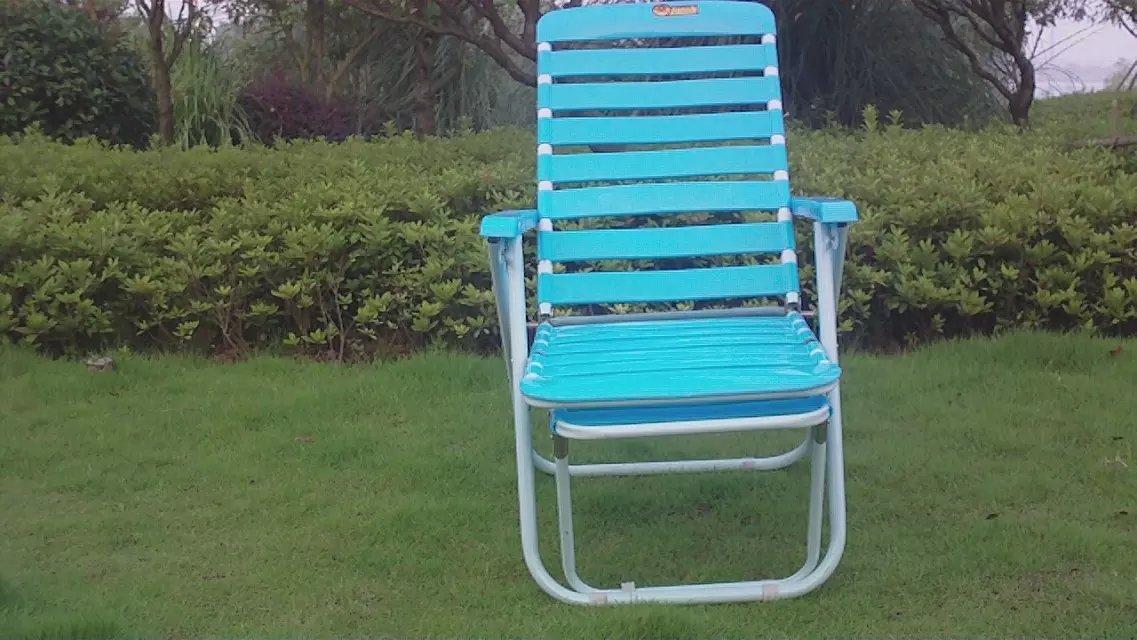 Thicker nap leisure folding recliner chairs blue beach