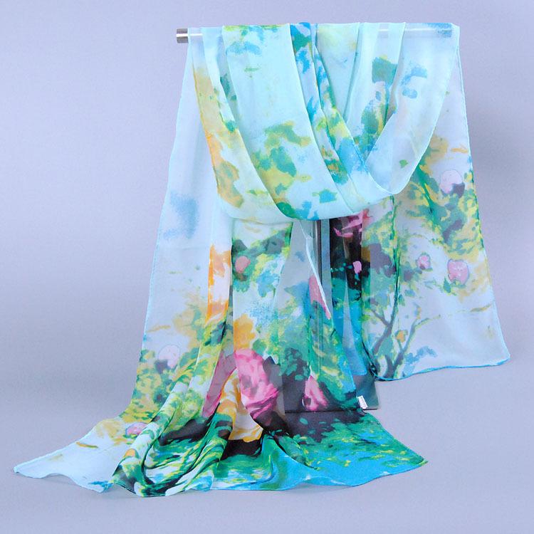 Шарф женщины в шарф длинная шаль печать мыс шелк цветы шифон шарфы