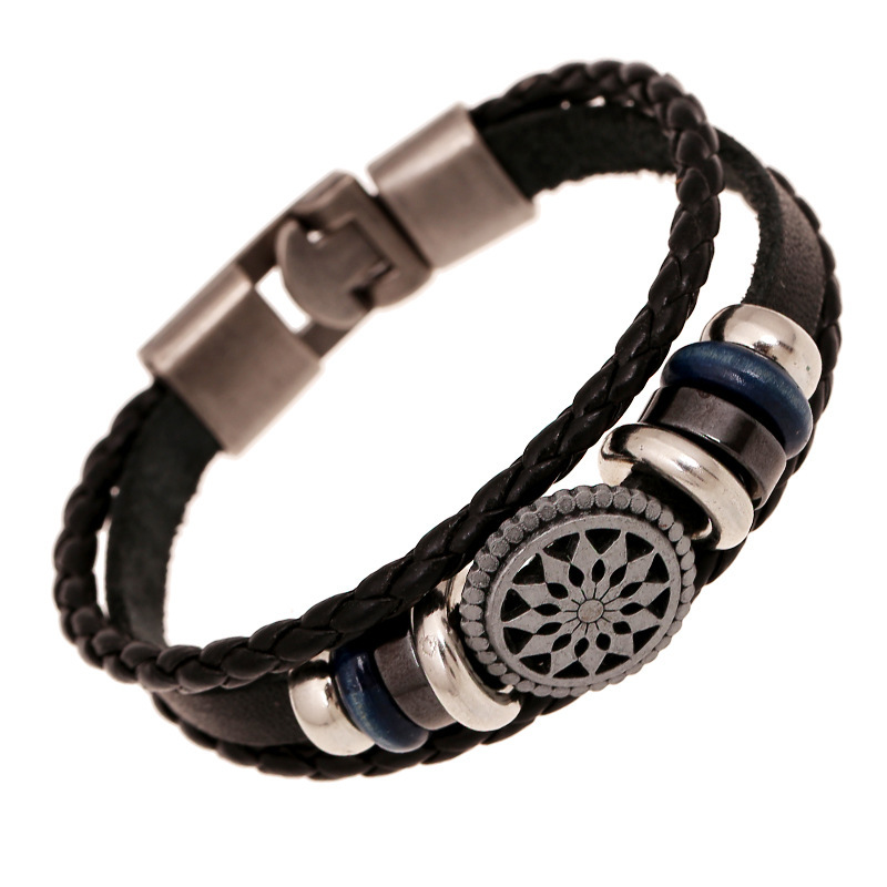 20cm Men Jewelry Pirate Style Bronze Genuine Leather Anchor Bracelets Wholesale Cuff braided Wrap Bracelet & Bangles Gifts(China (Mainland))