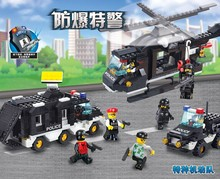 499PCS/set City police helicopter command center police car blocks bricks boy toy compatible with lego