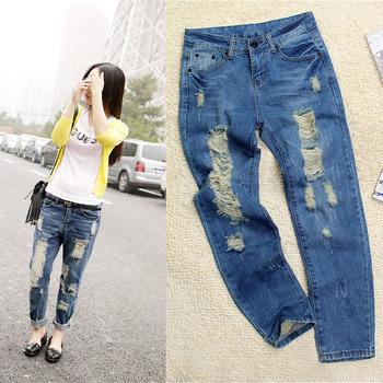 Горячая распродажа женские рваные джинсы мода бойфренд джинсы для женщины свободно ...