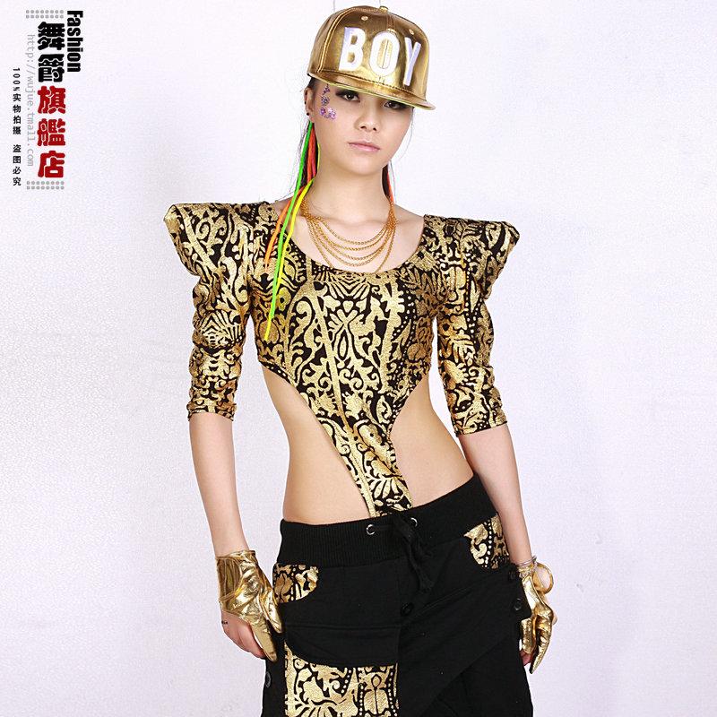 fashion 2014 hip hop street ds Women clothing bronzoer Jumpsuits top slim sports bar dance performance costumes - Hiphop Dance's Club store
