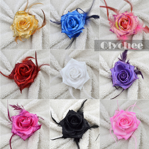 Feather Shining Flower Nylon Hair Clips Corsage Hairpins Bobby Pins For Women Wedding Party Club Stage Performances Headwear(China (Mainland))