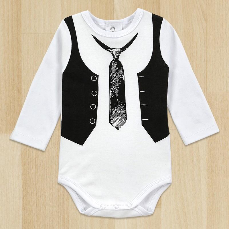 Top איכות הקמעונאי-חתיכות תינוק ג ' נטלמן רומפר לבן שרוול ארוך לתינוקות חורף סרבל הבא התינוק הנולד בגדים הגוף
