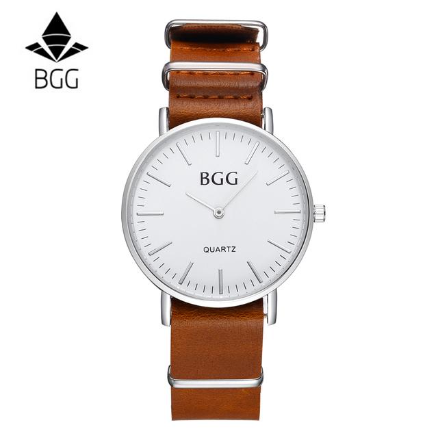 Zegarek BGG casualowy skórzana opaska trzy kolory