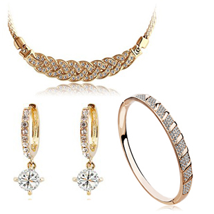 Christmas gift!!! 18K white gold plated austrian crystal women necklace/earrings/bracelet fashion jewelry sets