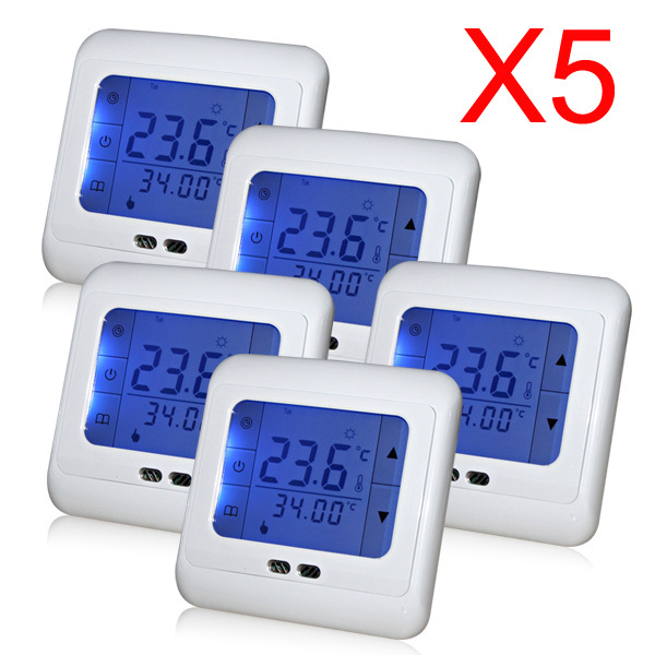 Гаджет  5 Pieces Programmable Touch Screen Floor Heating Thermostat Room Weekly Temperature Controller Thermometer With Blue Backlight None Строительство и Недвижимость