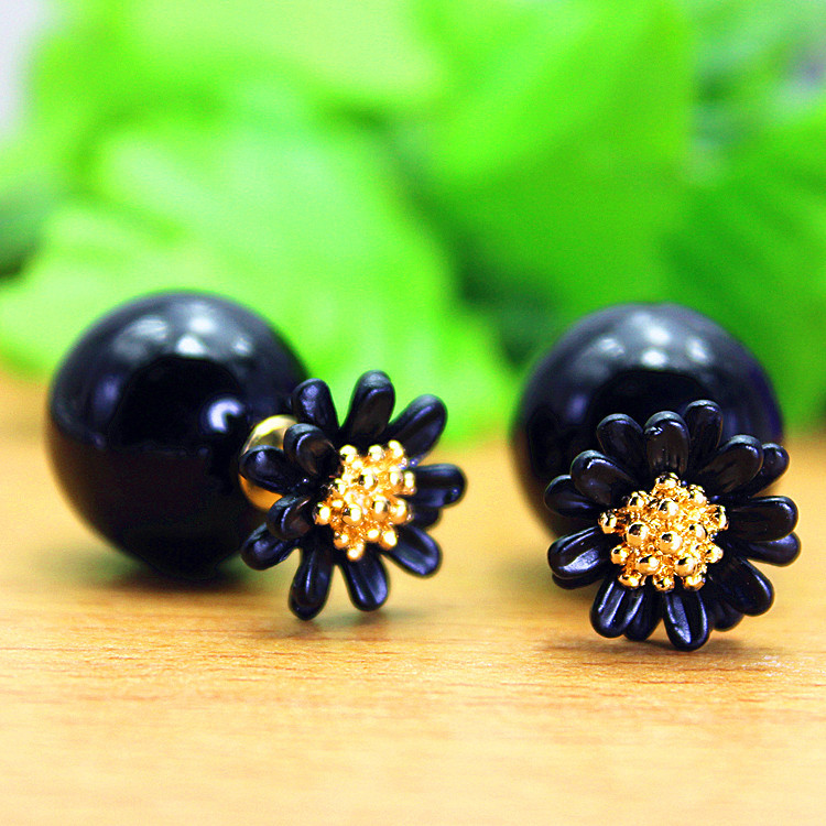 2016 new design fashion brand winter style elegant Daisy jewelry double side stud earrings for women big beads Flowers earings(China (Mainland))