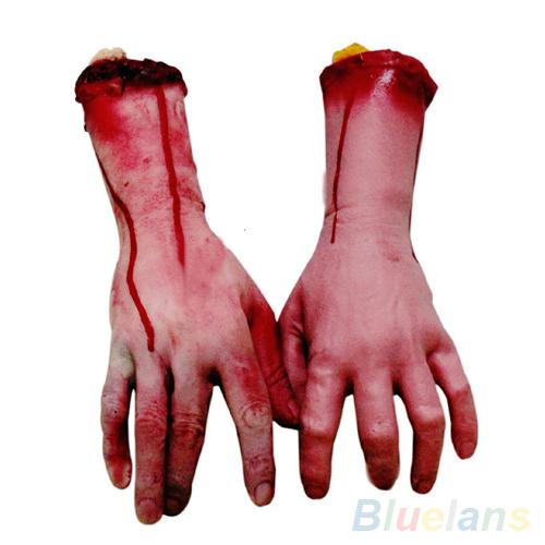 Lifesize Human Arm Hand Bloody Dead Body Parts Haunted House Halloween Prop 1Q7U 39II(China (Mainland))