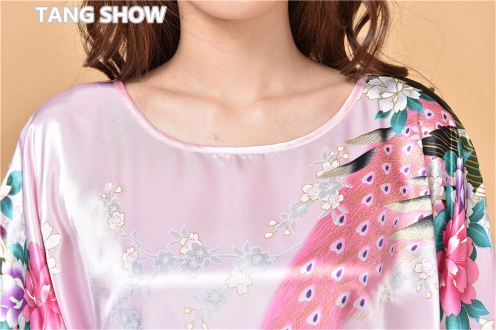 Новый Розовый Китайских Женщин Шелк Район Одеяние Платье Летние Свободные Lounge Ночная Рубашка Пижамы Кафтан Ванна Платье Цветок Один Размер S002