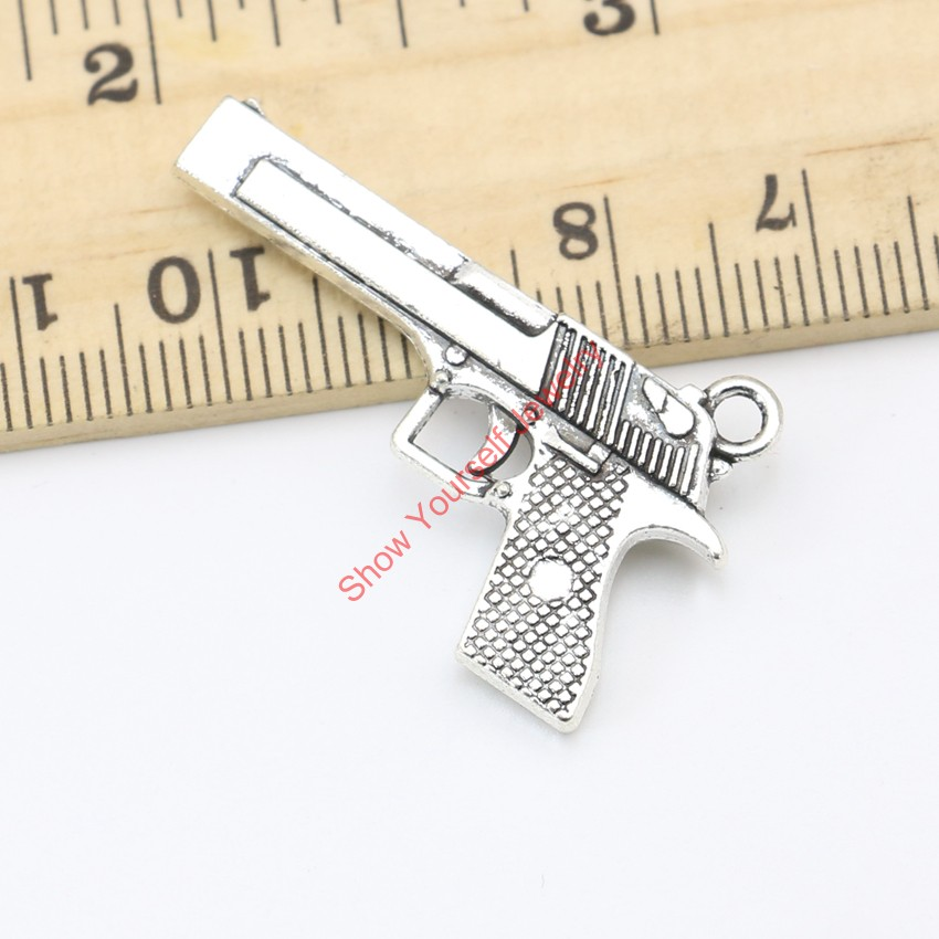 10pcs Tibetan Silver Plated Pistol Gun Charm Pendants for Jewelry Making DIY Handmade Craft 35X20mm(China (Mainland))