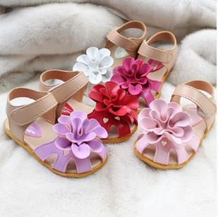 2015 - Fashion Baby Girls Summer Sandals Kids Flower Anti-slip Soft Sole Infant Shoes Babe First Walkers Footwear(China (Mainland))