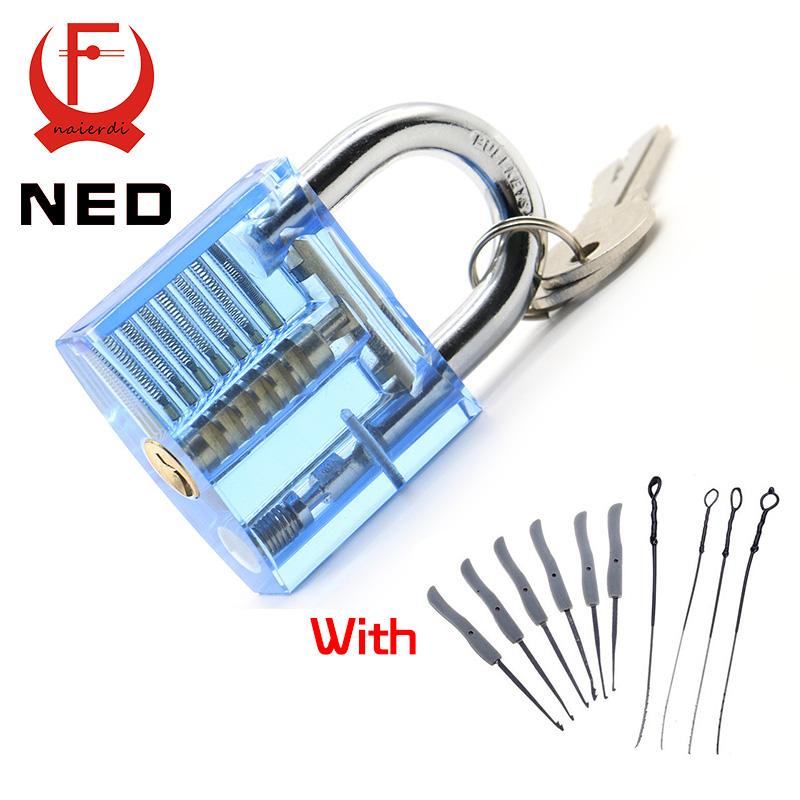 NED Blue Transparent Visible Pick Cutaway Practice Padlock Lock With Broken Key Removing Hooks Lock Extractor Set Locksmith Tool(China (Mainland))