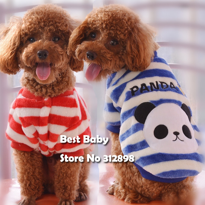 2015 New Pet clothes Striped Panda Blue Red Soft Winter Warm Polyester Dogs Small Animals Puppy Chihuahua Pitbull Coats Supplies(China (Mainland))