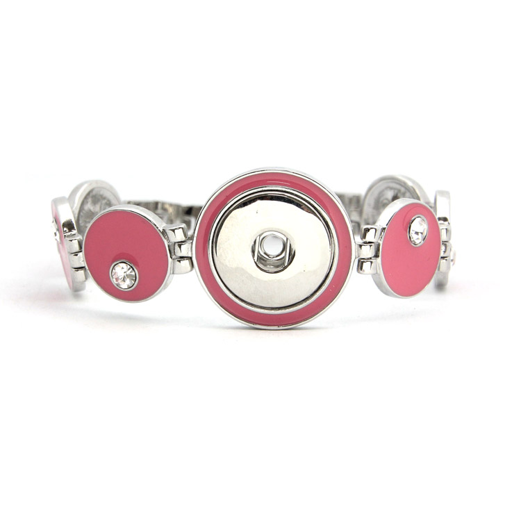 Cute Pink Enamel Snap Button Bracelet Jewellery For Young Girls Fit 18-20mm Ginger Snap Charms<br><br>Aliexpress