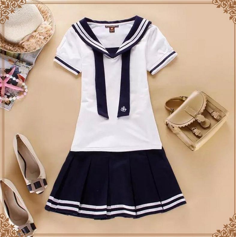 2015 new Hot Japanese Sailor Collar White Shirt harajuku t shirt women cosplay costume Top Skirt