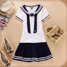 2015 new Hot Japanese Sailor Collar White Shirt harajuku t shirt women cosplay costume Top Skirt Kawaii girl Set Women Navy Tee